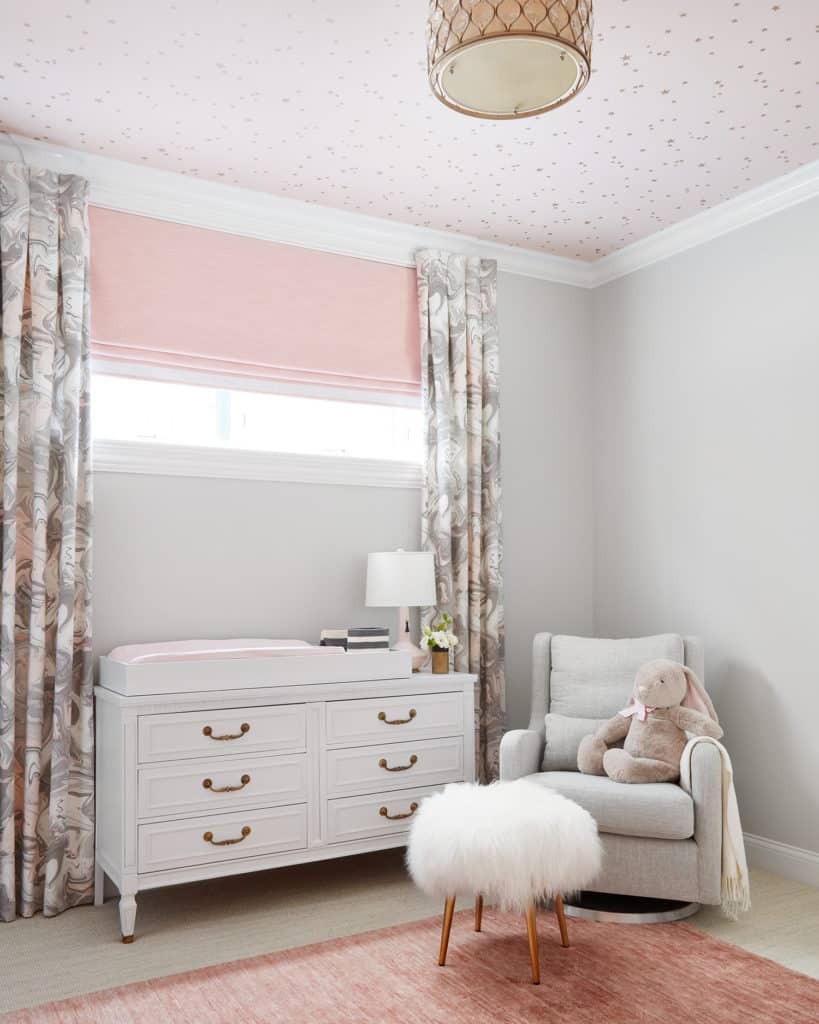 Above In This Centered By Design Nursery A Functional Roman Shade With Blackout Lining Is Perfect For The Baby S Room But To Add Height Otherwise
