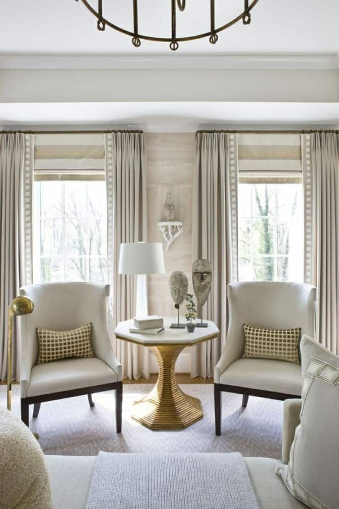 Window treatment ideas roman shades and drapery panels for Hamptons style window treatments