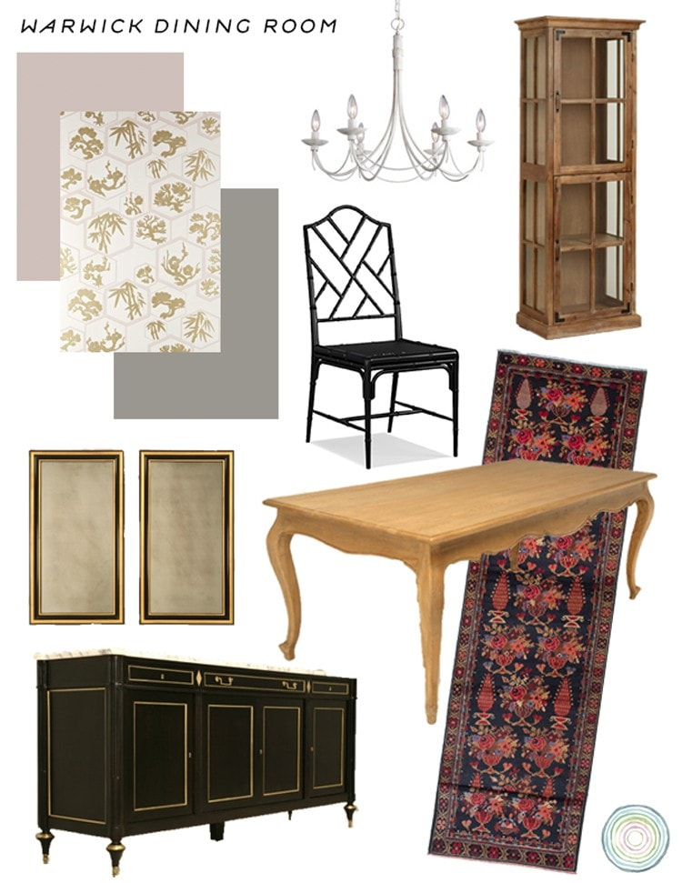 Hollywood Regency Inspired Dining Room