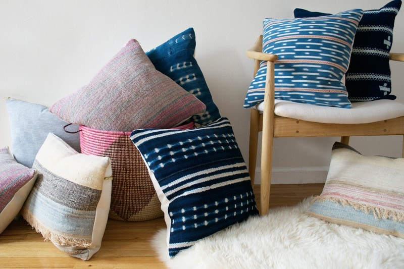 Pillows handmade by Rehabitat and sold online