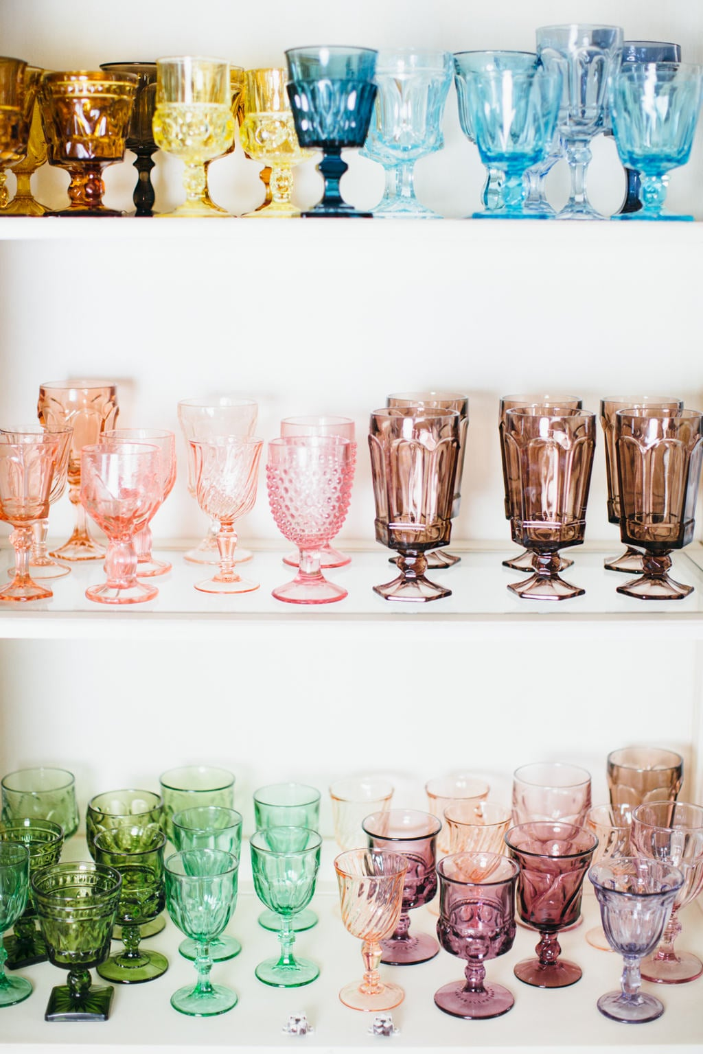 rainbow vintage glassware