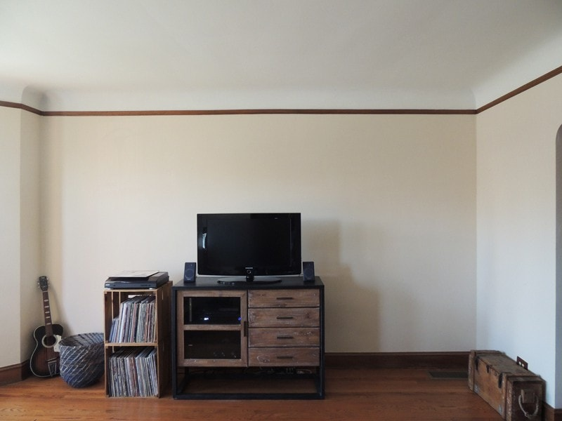 Before, location for new built-in media center.