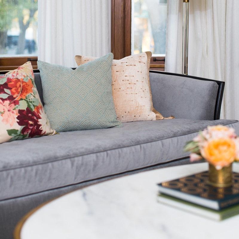 gray velvet vintage sofa