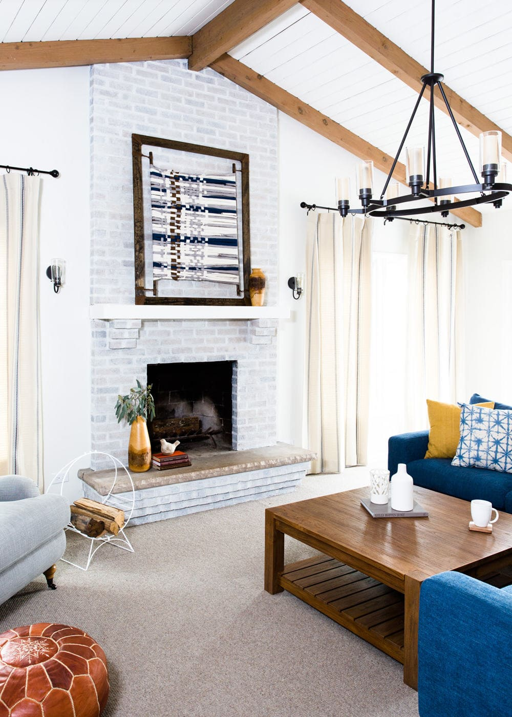 Before & After: Family Room Remodel and White Washed Fireplace