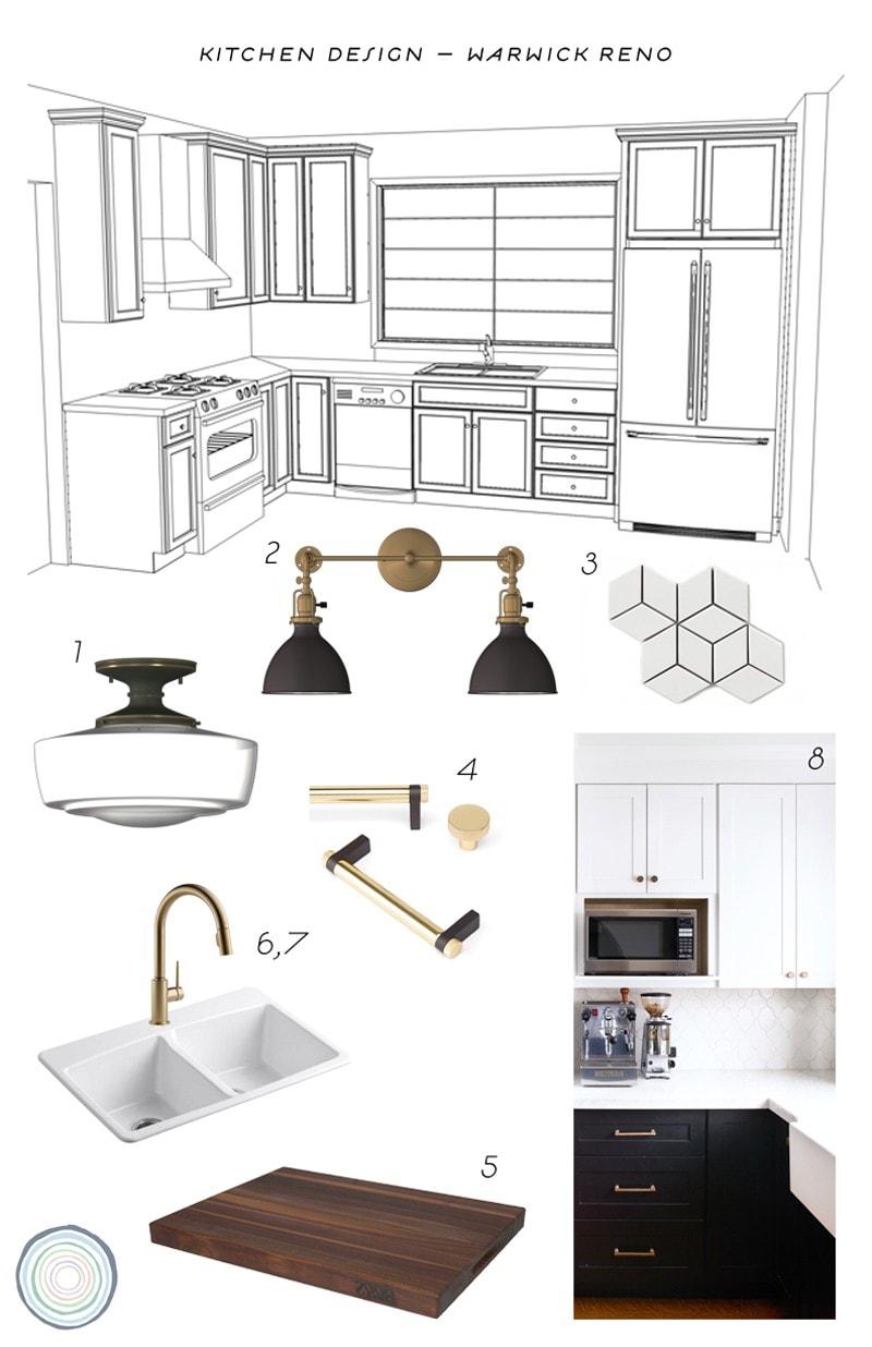 black and white kitchen design plan