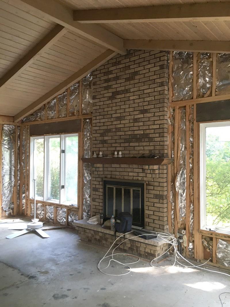 old brick fireplace needs white wash painting