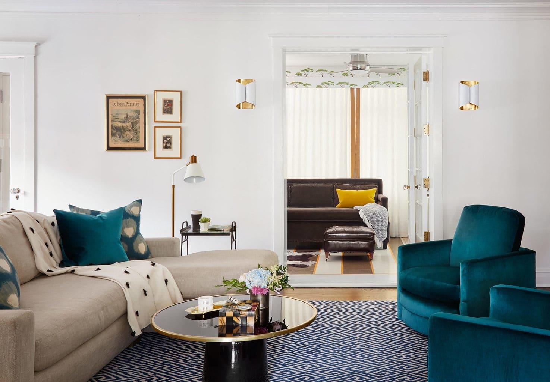 modern living room teal velvet chairs