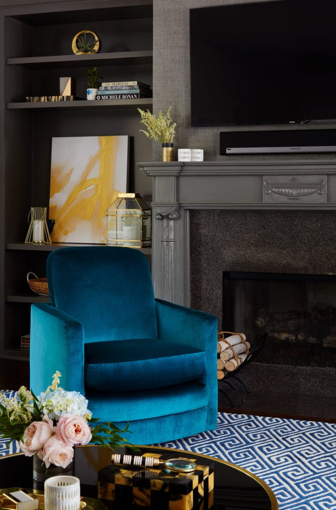 blue velvet chair centered by design