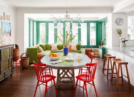 painted trim green modern kitchen