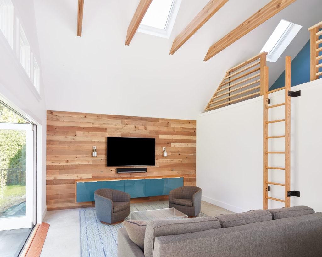 wood clad media wall