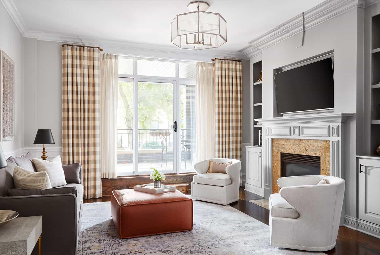 centered-by-design-elegant-gray-living-room-plaid-drapes - Centered ...