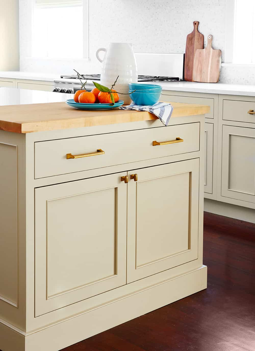 Tan Cabinets Light Butcher Block Centered By Design