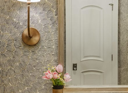 feather bloom grasscloth powder room