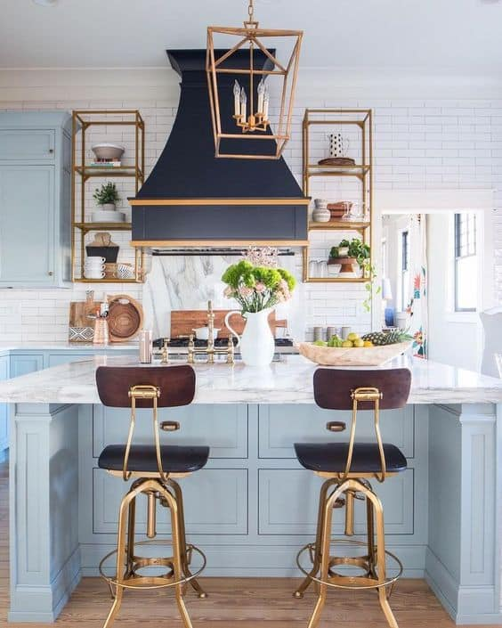 powder blue island and cabinets