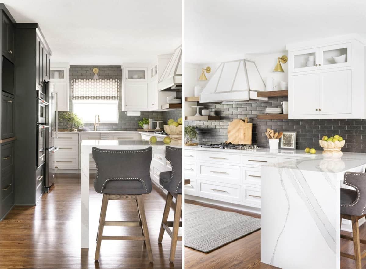 gray+white+kitchen+quartz+countertops