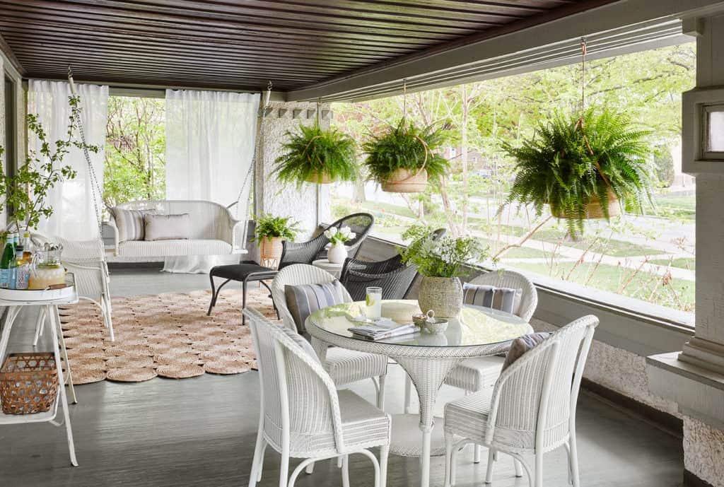 white and black wicker porch furniture