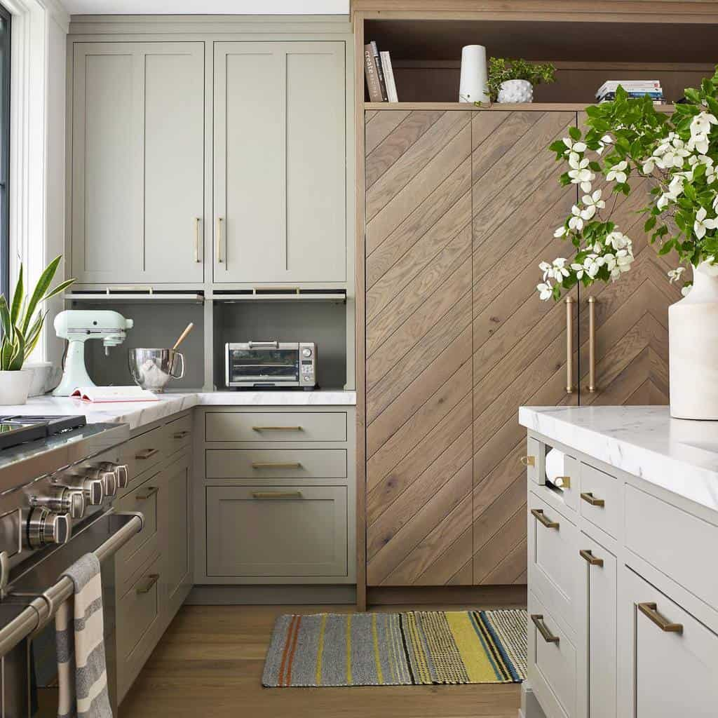 griege kitchen cabinets with chevron wood fridge