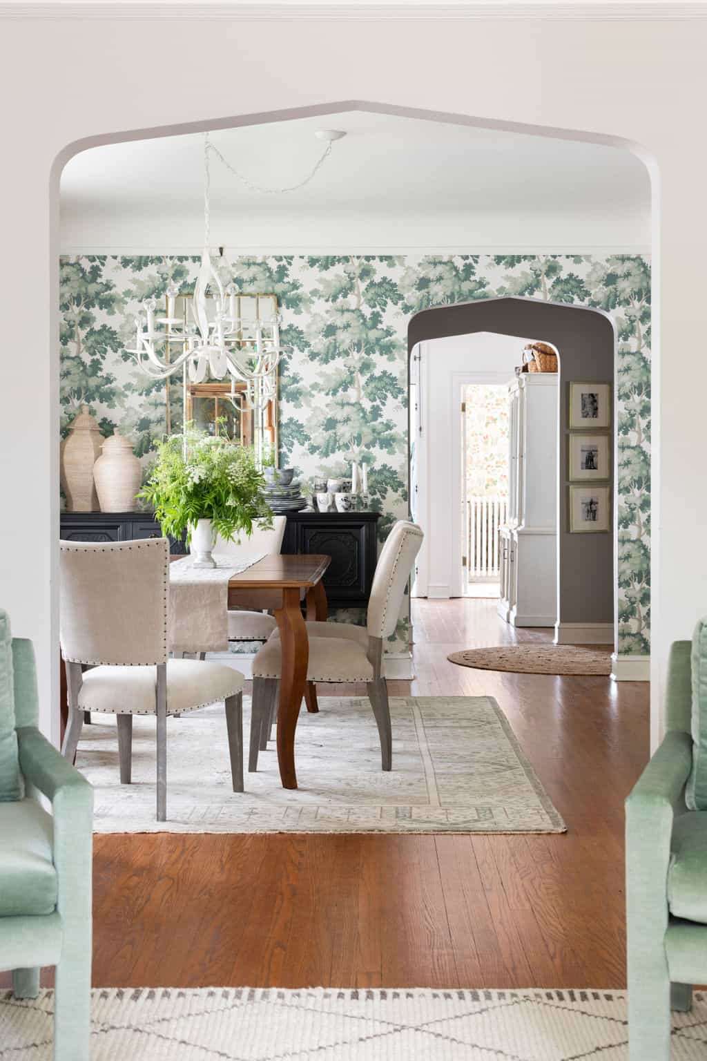 Centered by Design Portfolio, The House of Scalamandre Raphael Green wallpaper